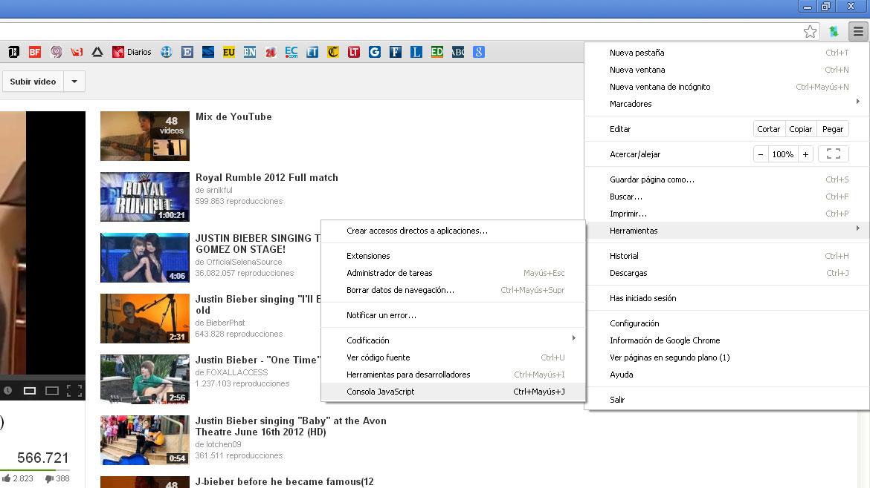 Abrir la consola JavaScript. Para ello, en Google Chrome,ir al menú de herramientas e ingresar en la opción consola JavaScript