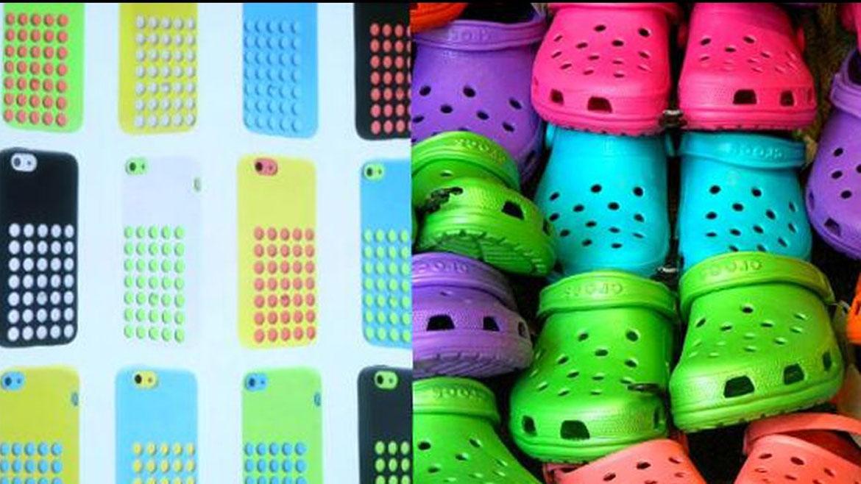 Otra persona utilizó la red social para ironizar que Applese inspiró en este calzadocon orificios para diseñar la carcasa del smartphone de bajo costo.