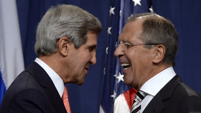 John Kerry,secretario de Estado norteamericano, ySerguei Lavrov,canciller ruso