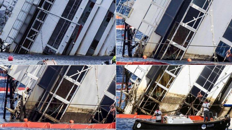 Las expectativas por la operación convocaron a más de 500 periodistas procedentes de todo el mundo, para seguir en directo cómo la mole de 44.600 toneladas de peso, 290 metros de longitud y cerca 70 metros de altura volverá a ser reflotada.