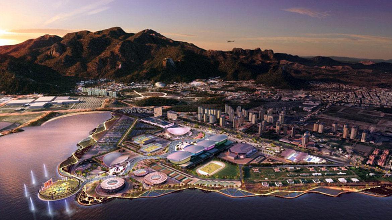 El Parque Olímpico se construye en una península frente al mar en el barrio de Barra da Tijuca, Rio de Janeiro. Son 300 hectáreas