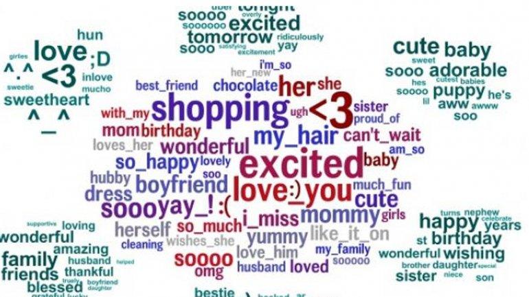 Palabras más nombradas por las mujeres en Facebook