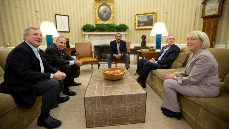 Obama, durante la reunión con los referentes demócratas