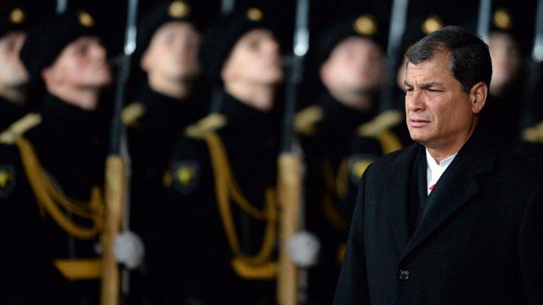 Correa y Putin, durante su encuentro en Moscú
