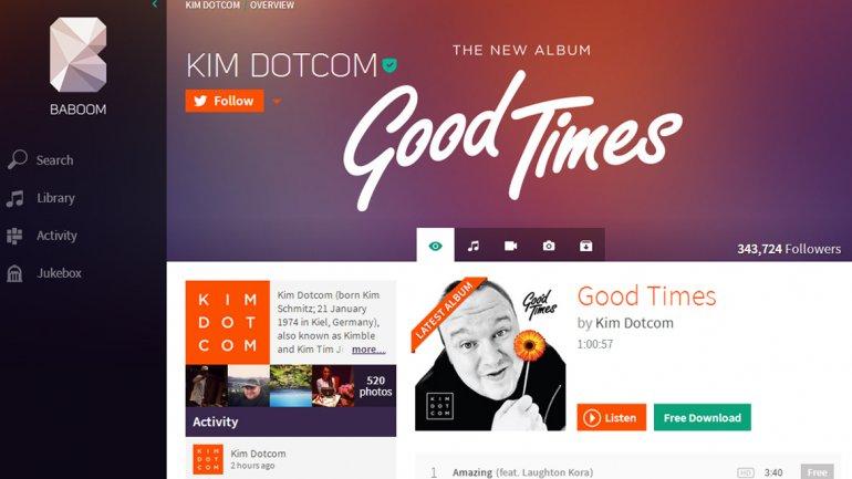 Kim Dotcom lanza Baboom, su servicio de streaming de música