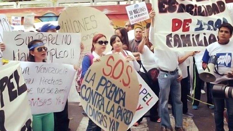 Marcha de periodistas en Venezuela