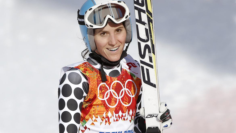 La esquiadora argentina Macarena Simari Birkner tras terminar la supercombinada en los Juegos Olímpicos de Sochi 2014.