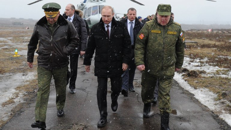 March 3, 2014.  The Russian President Vladmir Putin, accompanied by his Defense Minister Sergei Shoigu and Commander of the Western Military District, Anatoly Sidorov, in St. Petersburg.