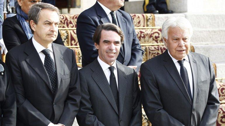 Los ex presidentes del Gobierno de España, José Luis Rodríguez Zapatero,José María Aznar yFelipe González