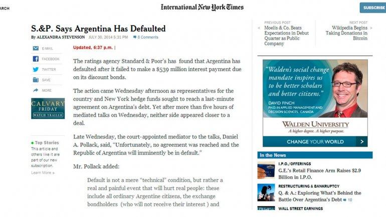El prestigioso diario estadounidense New York Times