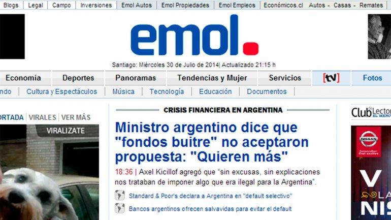 Emol, la versión online del diario El Mercurio, de Chile