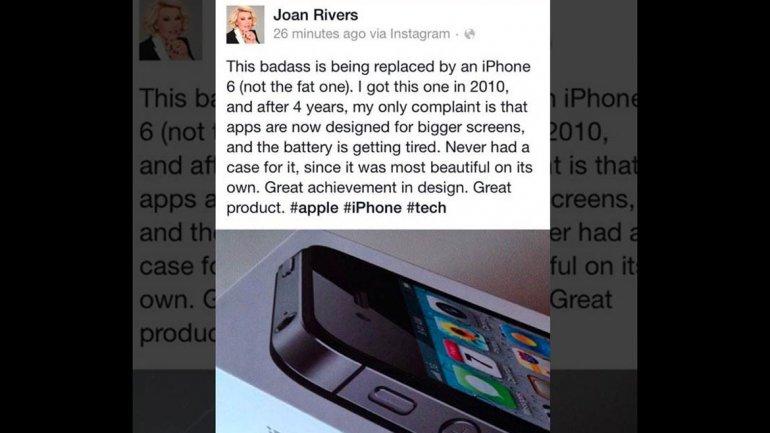 Error macabro en Facebook: Joan Rivers promocionó el iPhone 6