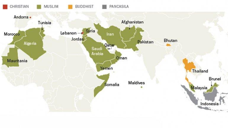 Mapa: Países que exigen una religión a sus mandatarios