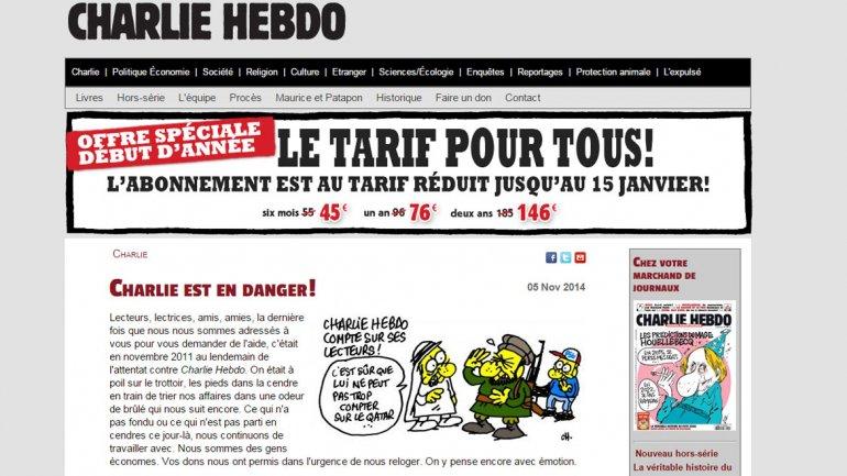 Esta es la portada del sitio web de la revista Charlie Hebdo