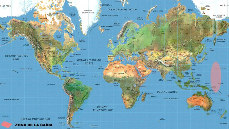 Mapa: esta es la zona donde se desintegró la nave rusa