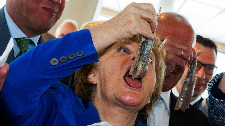 En la inauguración del Mark ROOS 777le ofrecieron a la canciller un arenque recién sacado del mar. Parece que encontraron uno de sus platillos favoritos