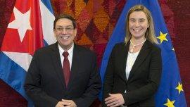 Federica Mogherini y Bruno Rodriguez, homólogos de Relaciones Exteriores de la UE y Cuba