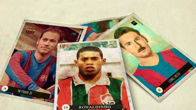 Figuritas de las estrellas de fútbol si jugaran en el pasado