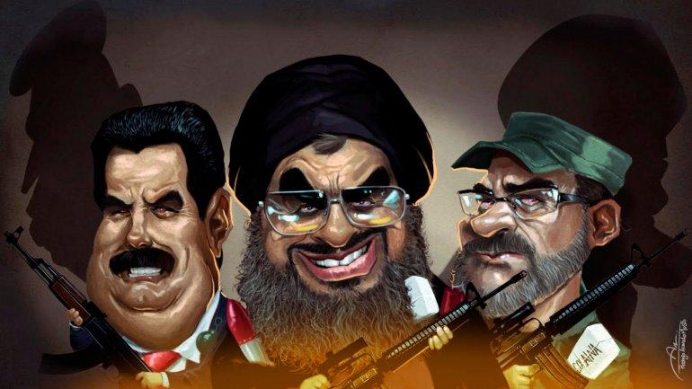 Nicolás Maduro, Hassan Nasrallah y Timochenko. El lavado de dinero y el narcotráfico son los principales puntos en común que tienen entre ellos. Detrás, la sombra de Chávez y de el Ayatollah Kamenei.