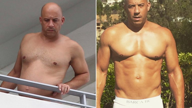 Vin Diesel en el balcón de su hotel en Miami, Florida, se muestra relajado y un poco fuera de forma.
