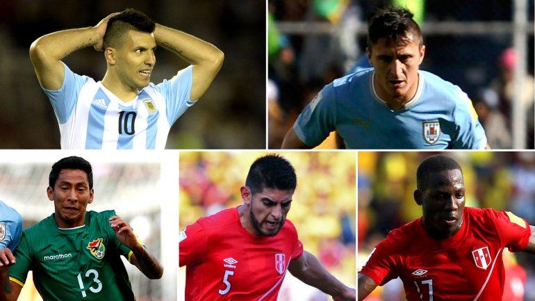 Cristian Rodríguez, Sergio Agüero, Luis Advíncula, Carlos Zambrano y Jair Torrico