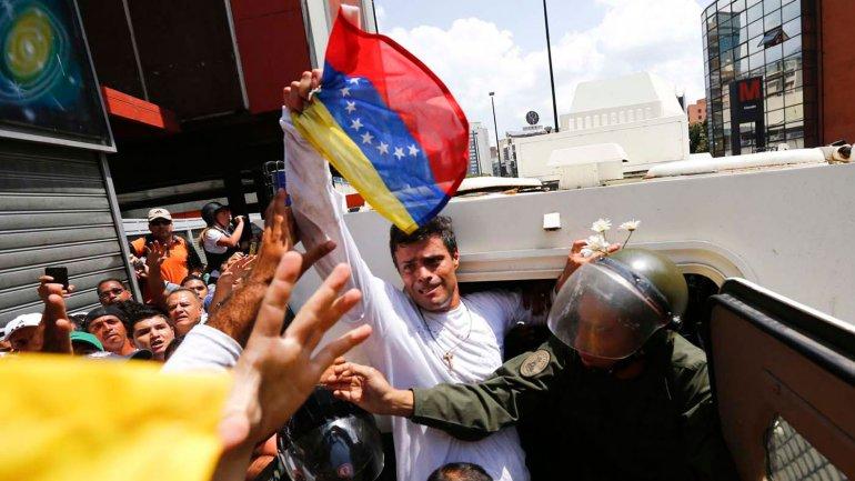 Leopoldo López, el día de su detención en Caracas