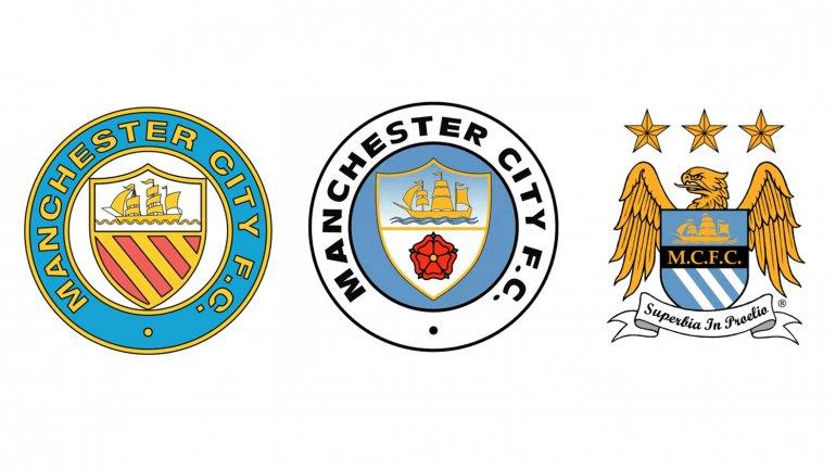 Los tres escudos históricos del Manchester City.
