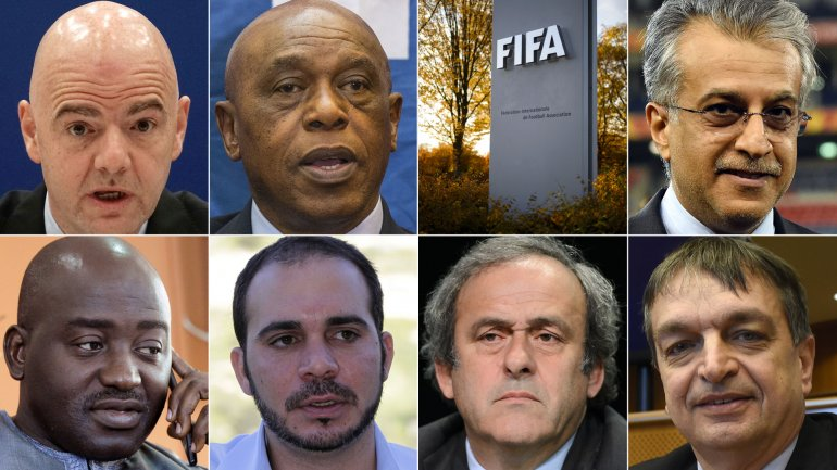 Gianni Infantino(Suiza), el jequeSalmán(Bahréin), Musa Bility (Liberia),Tokyo Sexwale(Sudáfrica),Ali Bin Al Hussein (Jordania),Michel Platini(Francia) y Jerome Champagne (Francia)