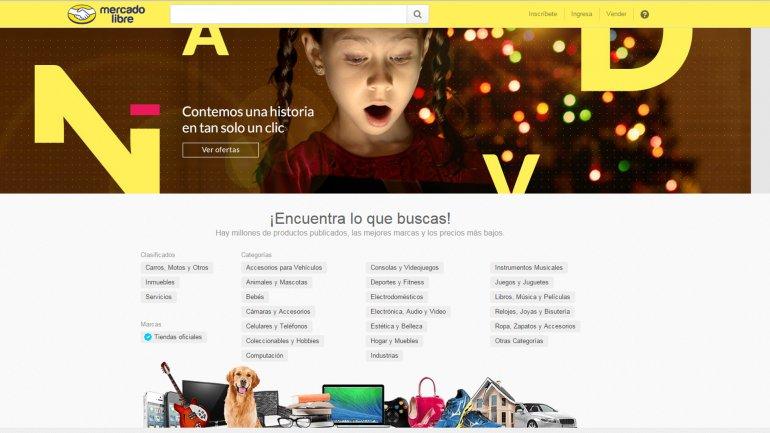 El portal de Mercado Libre en Venezuela