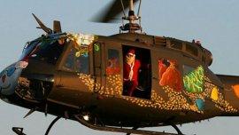 Papá Noel robó un helicóptero en San Pablo, Brasil