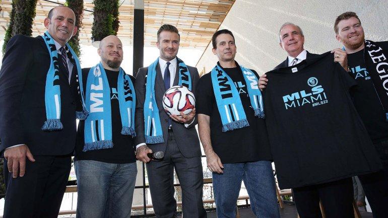 David Beckham en la presentación de su proyecto de club en Miami
