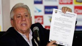 Luis Chiriboga fue suspendido por 90 días como presidente de la Federación Ecuatoriana de Fútbol