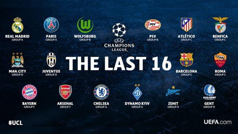 Los 16 clasificados a octavos de final de la Champions League