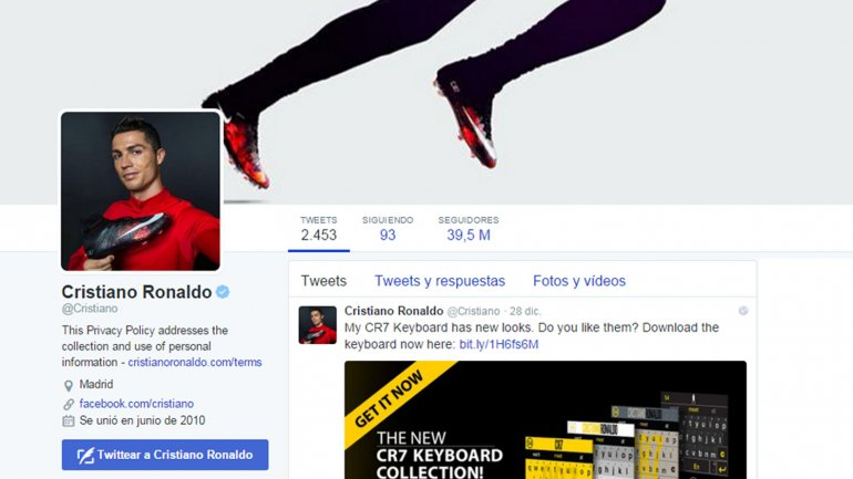 Cristiano Ronaldo encabeza el ranking de los deportistas que más dinero ganan a través de Twitter
