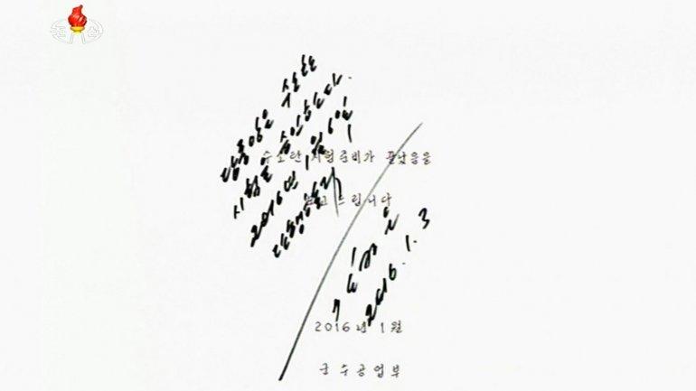 La autorización para la prueba de la bomba de hidrógeno firmada por Kim Jong-un