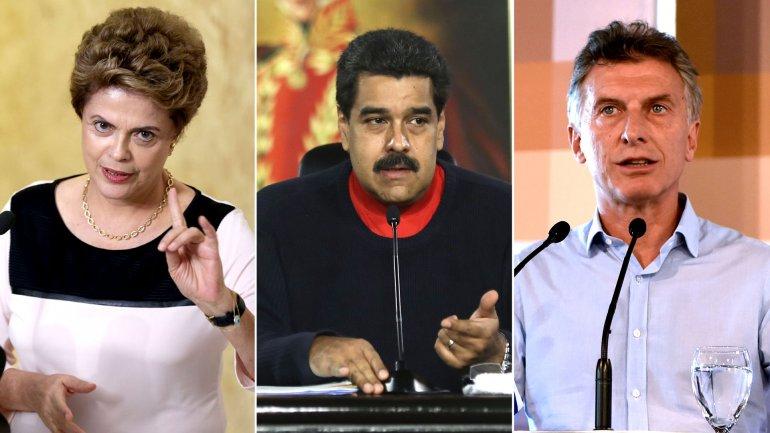 Dilma Rousseff, Nicolás Maduro y Mauricio Macri
