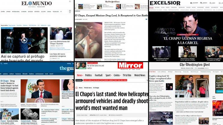 Los diarios del mundo se hicieron eco de la captura de El Chapo Guzmán
