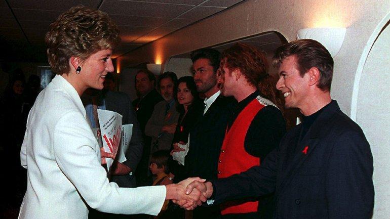 David Bowie con la princesa Diana en diciembre de 1993