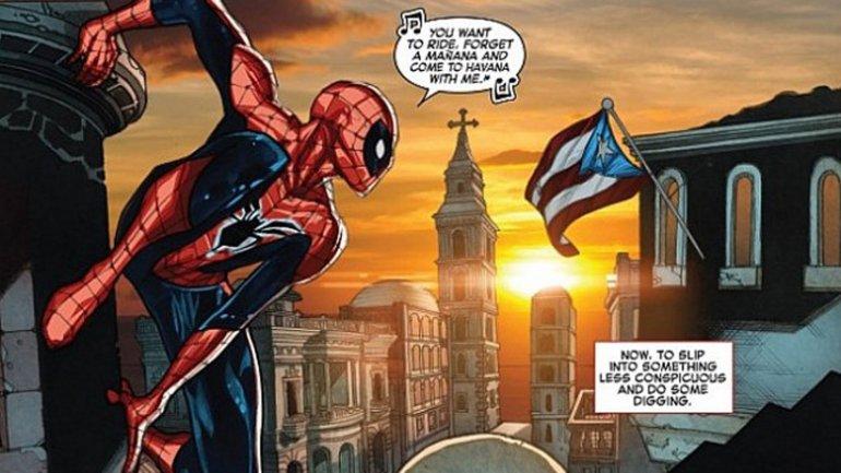 La imagen de la bandera de Puerto Rico en vez de la de Cuba en la edición del El asombroso Hombre Araña