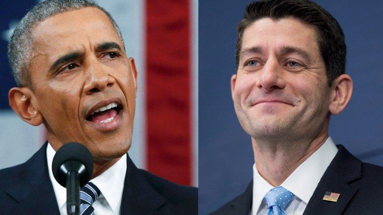 Barack Obama y Paul Ryan, republicano presidente de la Cámara de Representantes (Senado) de EEUU