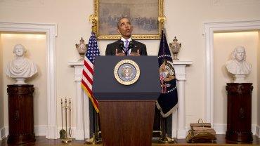 Barack Obama, durante su breve discurso en la Casa Blanca