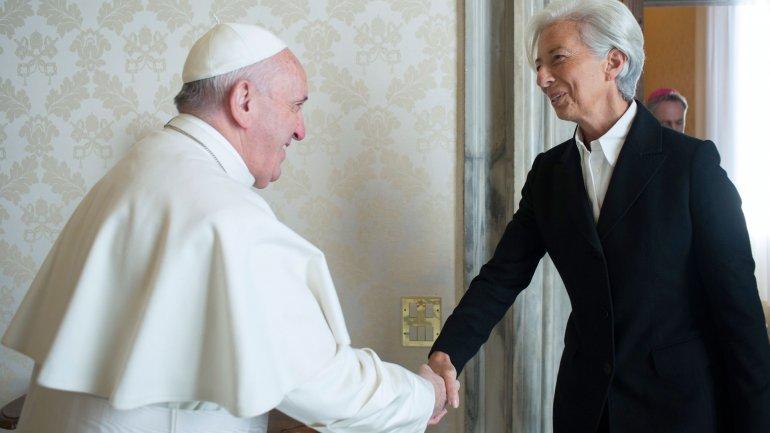 El papa Francisco yChristine Lagarde durante su encuentro del lunes en el Vaticano