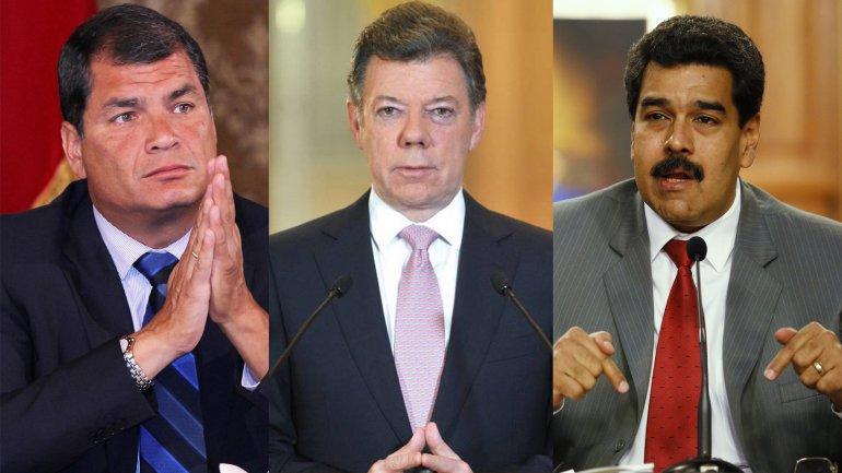 El presidente ecuatoriano, Rafael Correa; el colombiano Juan Manuel Santos y el venezolano Nicolás Maduro
