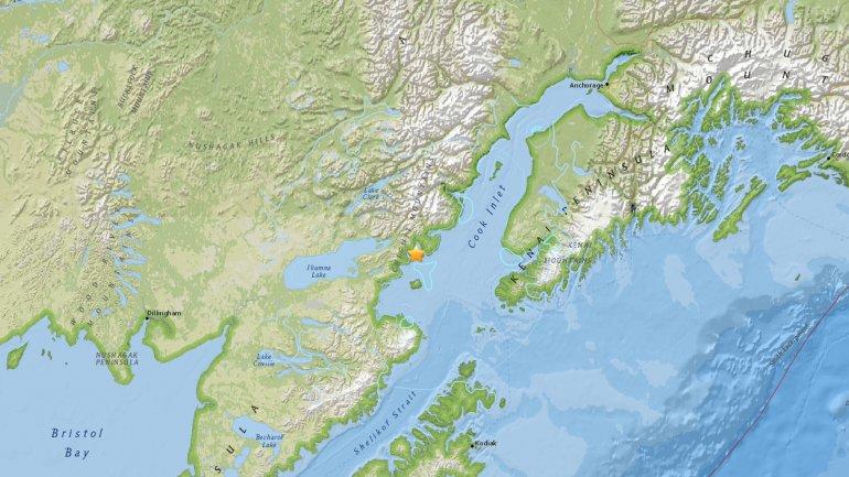 El epicentro del sismo registrado en Alaska