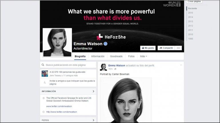 El perfil de Emma Watson en Facebook