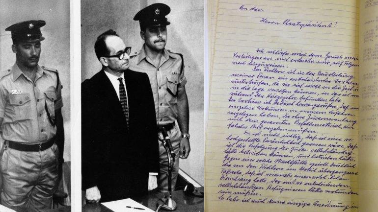 Adolf Eichmann, durante el juicio, y la carta inédita publicada este miércoles