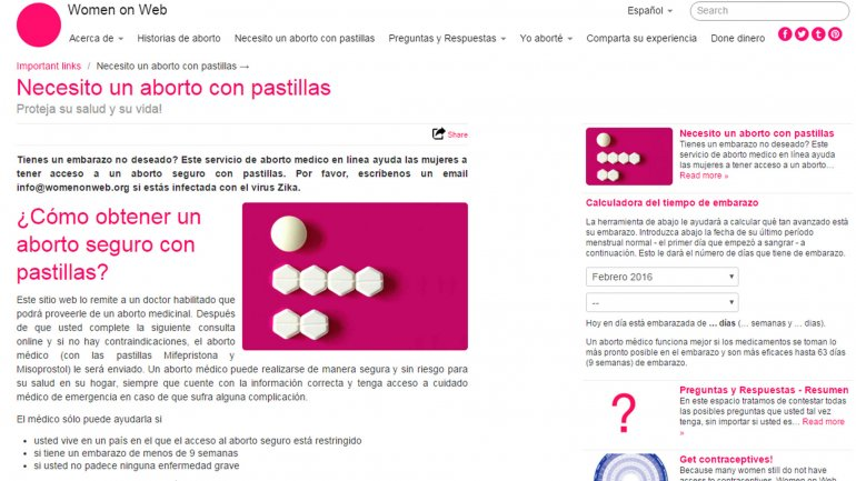 La ONG holandesa Women on Web ofrece píldoras abortivas