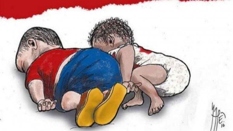 A la izquierda, el dibujo de Aylan; a la derecha, el del bebé de 7 meses.Ilustración de Milenio