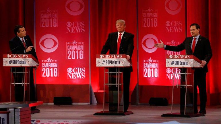 Ted Cruz, Donald Trump y Marco Rubio