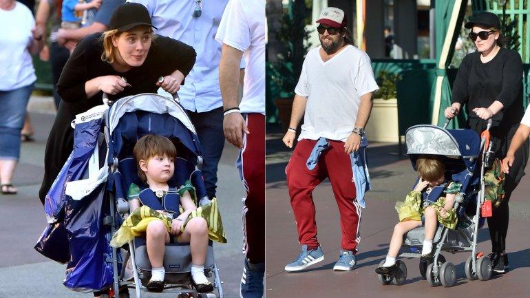 La cantante Adele visitó Disneylandia con su hijo Angelo, vestido como la princesa Anna de Frozen